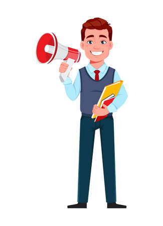 Handsome business man making an announcement. Young businessman cartoon character in flat style. Stock vector illustration Illusztráció