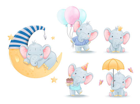 Cute little elephant, set of five poses. Funny cartoon character. Stock vector illustration isolated on white background Illusztráció