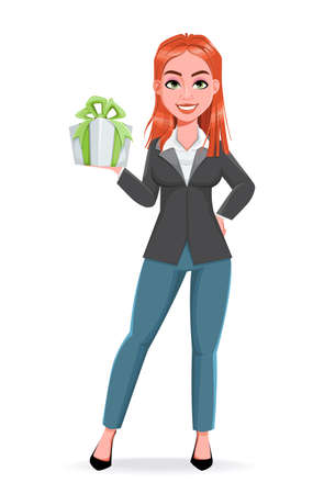 Beautiful business woman holding a gift box. Cheerful businesswoman cartoon character. Stock vector illustration on white background Illustration