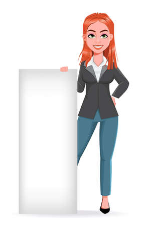 Beautiful business woman standing near blank placard. Cheerful businesswoman cartoon character. Stock vector illustration on white background