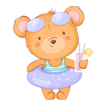Cute little bear in a swimsuit holding juice. Funny bear cartoon character. Usable for greeting card, baby shower, invitation. Stock vector illustration