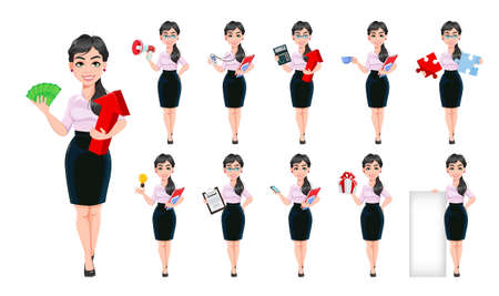 Beautiful successful business woman cartoon character, set of eleven poses. Usable as manager, secretary, office worker. Stock vector illustration Illustration