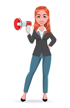 Beautiful business woman making announcement. Cheerful businesswoman cartoon character. Stock vector illustration on white background Illustration