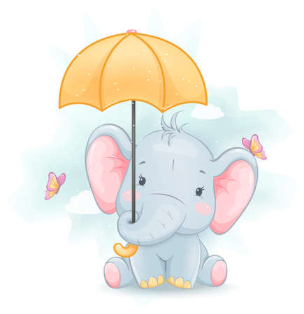 Cute little elephant holding umbrella. Funny cartoon character. Stock vector illustration