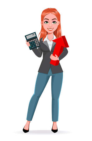 Beautiful business woman makes calculations. Cheerful businesswoman cartoon character. Stock vector illustration on white background