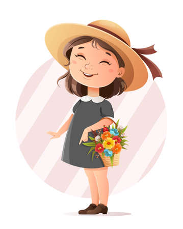Cute little girl in a hat holding a basket of flowers, Hello Spring concept. Adorable cartoon character. Stock vector illustration Illustration