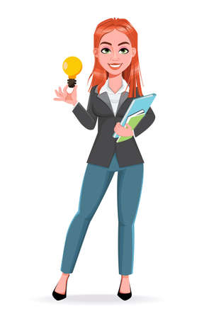 Beautiful business woman having a good idea. Cheerful businesswoman cartoon character. Stock vector illustration on white background