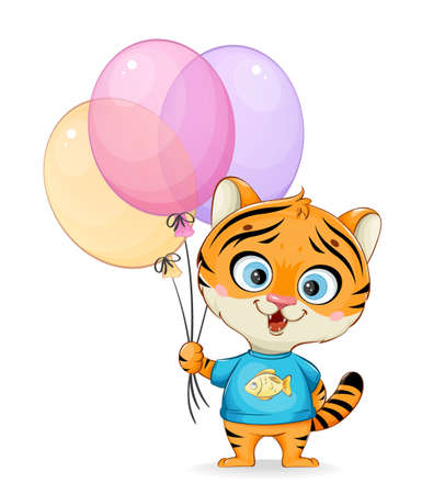Cute little tiger holding colored balloons. Funny cartoon character bear. Stock vector illustration