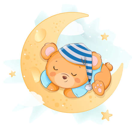 Cute little bear sleeping on the moon. Funny bear cartoon character having magical dreams. Usable for greeting card, baby shower, invitation. Stock vector illustration