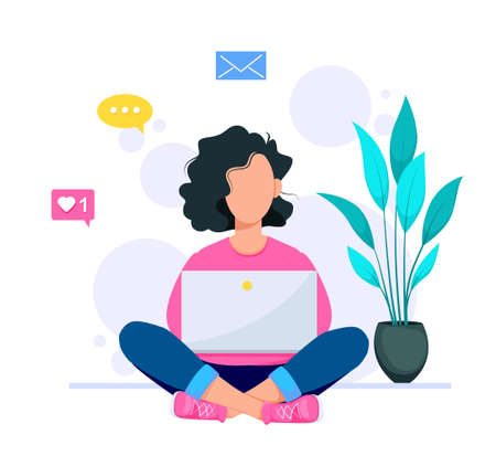 Happy young woman sitting on the floor with crossed legs and using her laptop. Freelancer or training concept. Stock vector