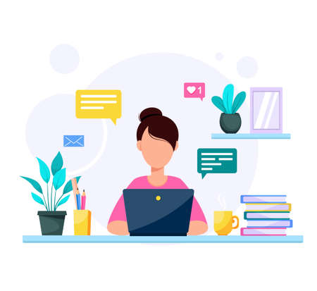 Woman with laptop, education or work concept. Table with books, flowers, a cup of tea. Office work. Stock vector illustration in flat style