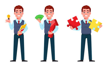 Handsome business man, set of three poses. Young businessman cartoon character in flat style. Stock vector illustration