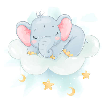 Cute little elephant sleeping on a cloud. Funny cartoon character. Stock vector illustration