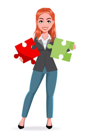 Beautiful business woman holding two pieces of puzzle. Cheerful businesswoman cartoon character. Stock vector illustration on white background