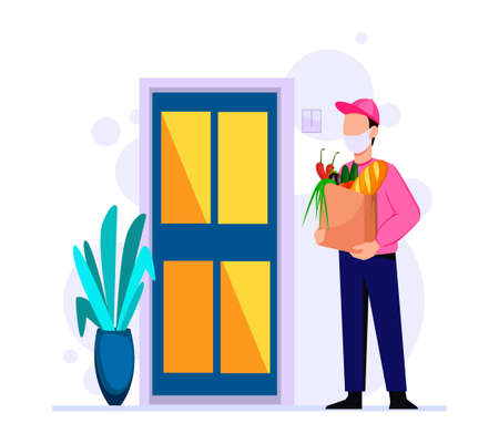 Delivery of groceries by courier, assistance to people with self-isolation due to pandemic. Stock vector illustration Illustration