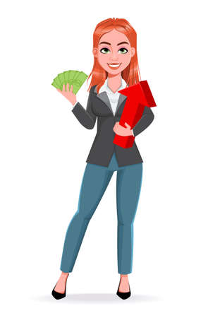 Beautiful business woman holding money and arrow. Cheerful businesswoman cartoon character. Stock vector illustration on white background