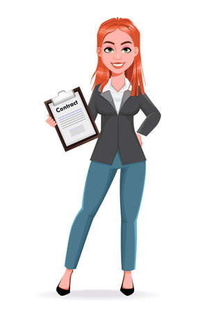 Beautiful business woman holding contract. Cheerful businesswoman cartoon character. Stock vector illustration on white background