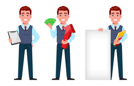 Handsome business man holding clipboard, holding money and standing near banner. Young businessman cartoon character in flat style, set of three poses. Stock vector illustration Illustration