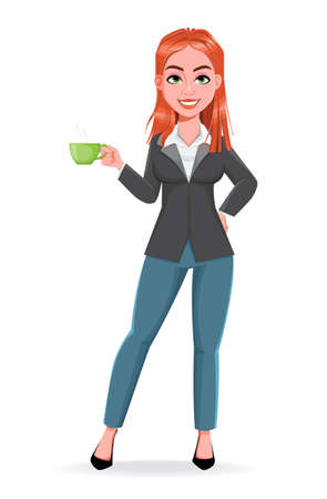 Beautiful business woman having a coffee break. Cheerful businesswoman cartoon character. Stock vector illustration on white background Illustration