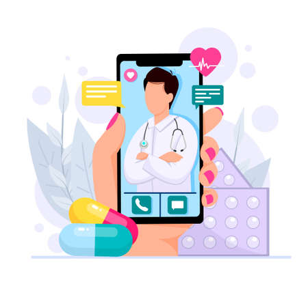 Online medical consultations concept, cardiology, covid-19, hand holds smartphone with a therapist in a chat, consultation in a messenger, ask a doctor. Vector flat style illustration