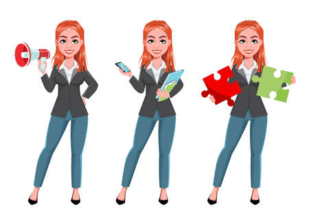Beautiful business woman, set of three poses. Cheerful businesswoman cartoon character. Stock vector illustration on white background
