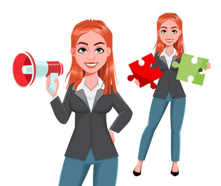 Beautiful business woman, set of two poses. Cheerful businesswoman cartoon character. Stock vector illustration on white background