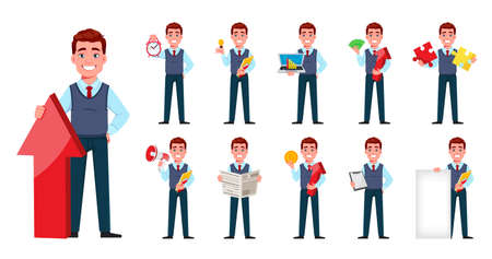 Handsome business man. Young businessman cartoon character in flat style, set eleven poses. Stock vector illustration