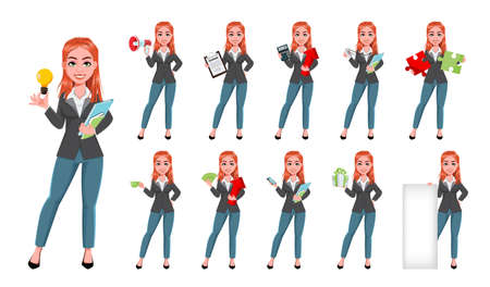 Beautiful business woman, set of eleven poses. Cheerful businesswoman cartoon character, pretty lady. Stock vector illustration Illustration