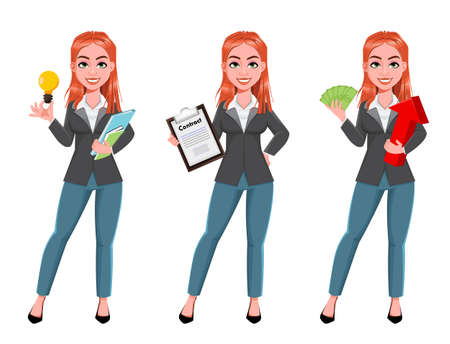 Beautiful business woman, set of three poses. Cheerful businesswoman cartoon character, pretty lady. Stock vector illustration