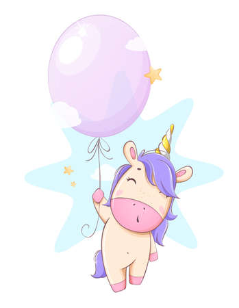 Cute unicorn flying on balloon. Funny magic unicorn cartoon character. Usable for print, invitation and other purposes. Stock vector illustration