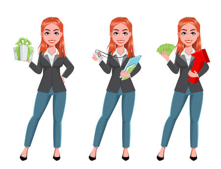 Beautiful business woman, set of three poses. Cheerful businesswoman cartoon character, smiling lady. Stock vector illustration on white background