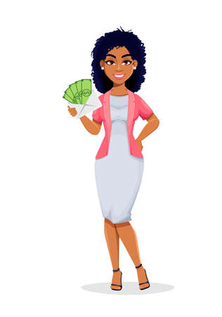 African American business woman holding envelope with money. Beautiful businesswoman cartoon character, pretty lady. Stock vector illustration