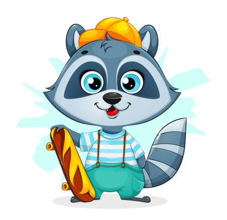 Cute cartoon raccoon standing with skateboard. Funny raccoon cartoon character. Stock vector illustration on white background