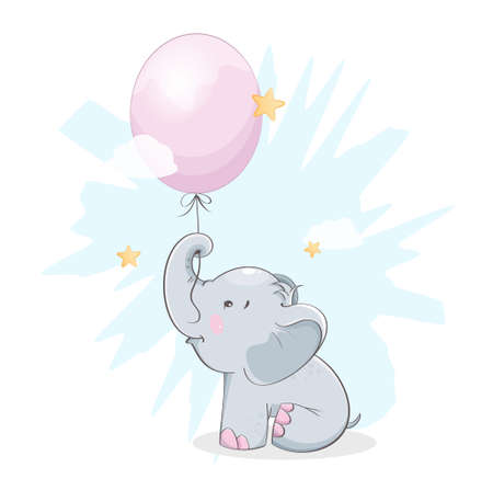 Cute little elephant holding balloon. Funny cartoon character. Stock vector illustration on white background
