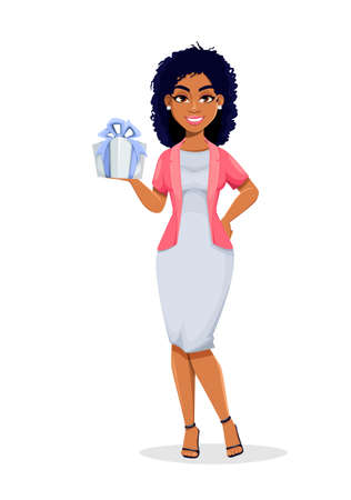 African American business woman holding gift box. Beautiful businesswoman cartoon character, pretty lady. Stock vector illustration Illustration