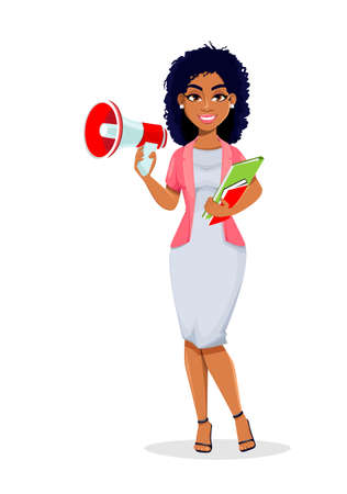 African American business woman making announcement via loudspeaker. Beautiful businesswoman cartoon character, pretty lady. Stock vector illustration