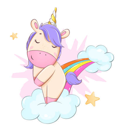 Cute unicorn standing on rainbow. Funny magic unicorn cartoon character. Usable for print, invitation and other purposes. Stock vector illustration