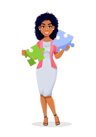 African American business woman holding two pieces of puzzle. Beautiful businesswoman cartoon character, pretty lady. Stock vector illustration Illustration