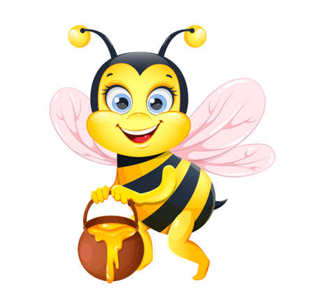 Cute cartoon bee. Funny honeybee cartoon character. Stock vector illustration on white background