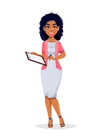 African American business woman holding clipboard. Beautiful businesswoman cartoon character, pretty lady. Stock vector illustration