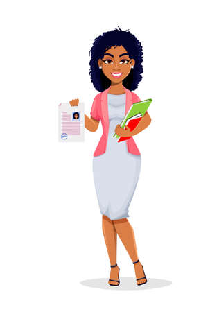 African American business woman holding resume. Beautiful businesswoman cartoon character, pretty lady. Stock vector illustration