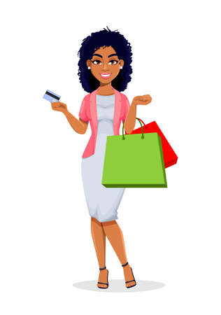 African American business woman goes shopping. Beautiful businesswoman cartoon character, pretty lady. Stock vector illustration Illustration