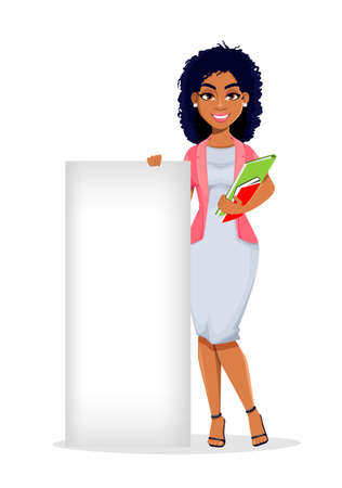 African American business woman standing near blank placard. Beautiful businesswoman cartoon character, pretty lady. Stock vector illustration