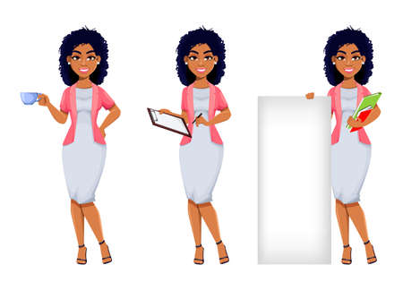 African American business woman, set of three poses. Beautiful businesswoman cartoon character, pretty lady. Stock vector illustration