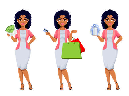 African American business woman, set of three poses. Beautiful businesswoman cartoon character going shopping. Stock vector illustration