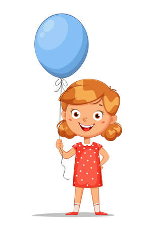Happy children's day. Cute little girl with blue balloon, cheerful cartoon character. Stock vector illustration on white background Иллюстрация