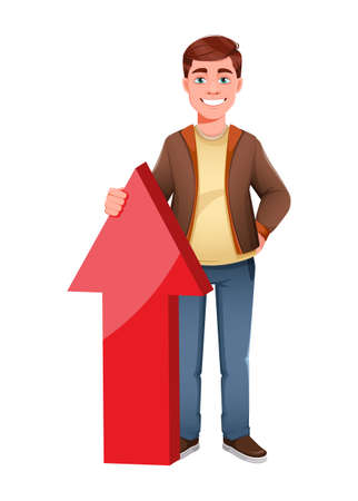 Handsome business man standing near big arrow. Young businessman cartoon character in flat style. Stock vector illustration