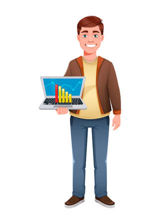 Handsome business man holding laptop. Young businessman cartoon character in flat style. Stock vector illustration Иллюстрация