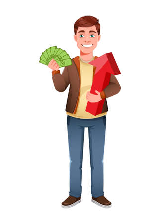 Handsome business man holding money and red arrow. Young businessman cartoon character in flat style. Stock vector illustration