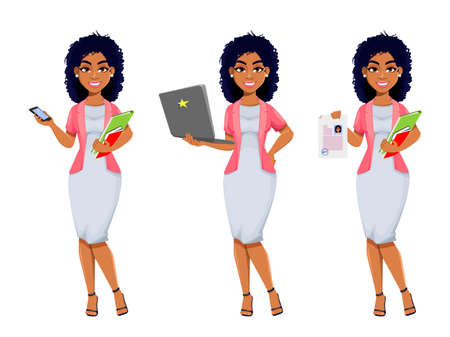 Cheerful African American business woman, set of three poses. Beautiful businesswoman cartoon character, pretty lady. Stock vector illustration